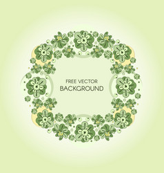 Wreath with green stylized flowers and vector