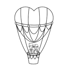 Hot air balloon and heart design vector