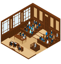 Isometric judicial session room template vector