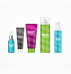 Realistic beauty template bottles set vector