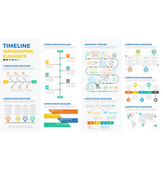 Business timeline infographic elements vector