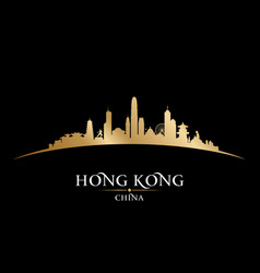 Hong kong china city skyline silhouette black vector