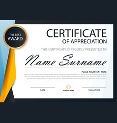 Yellow elegance horizontal certificate template vector