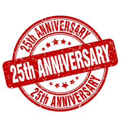 25th anniversary red grunge stamp vector