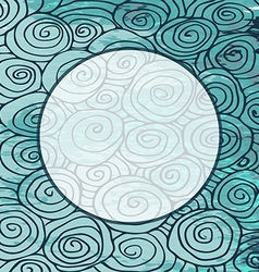 Waves hand drawn pattern frame circle curled vector image