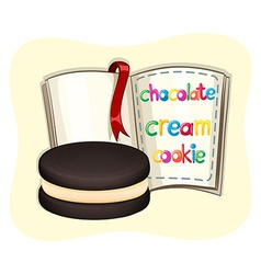 Chocolate cream cookie and a book vector