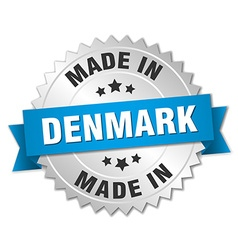 Made in denmark silver badge with blue ribbon vector