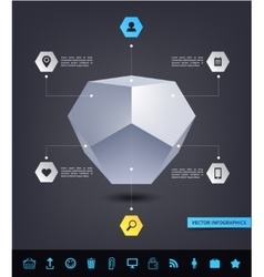 Abstract geometric 3d shape infographics vector