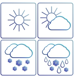 Abstract winter day weather flat image set vector