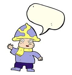 Cartoon mushroom man with speech bubble vector