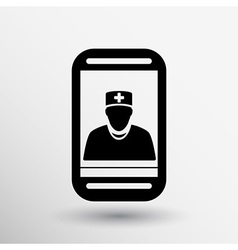Cartoon phone doctor character holding stethoscope vector image