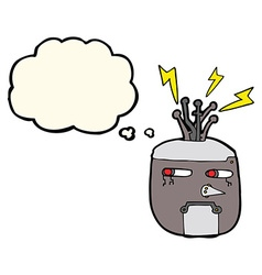 cartoon robot head with thought bubble vector image