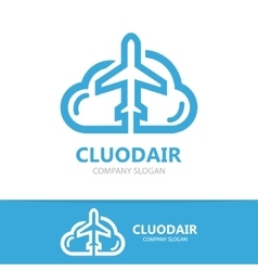cloud and airplane logo vector image vector image
