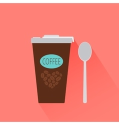 Coffee paper cup icon with shadow vector image vector image
