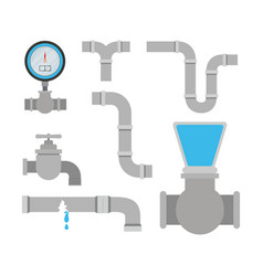 Colorful set of pipes plumbing service vector