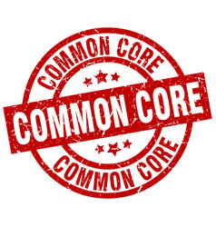 common core round red grunge stamp vector image vector image