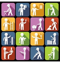 Construction worker icons white vector image