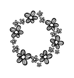 contour circle rustic flowers with petals vector image vector image