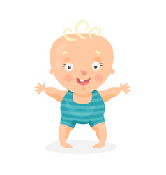 Cute cartoon happy baby boy trying to walk vector