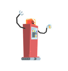 cute cartoon red robot soda vending machine vector image