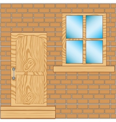 Door with window in wall vector image vector image