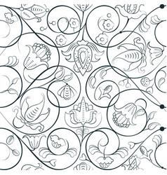 Elegant medieval floral ornament vector