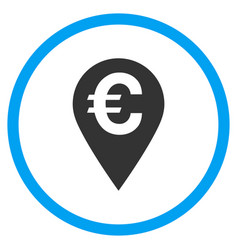 Euro map marker rounded icon vector