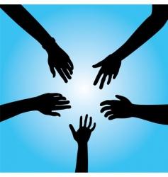 five hands vector image