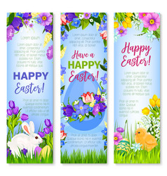 Happy easter eggs bunnies greeting banners vector