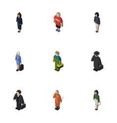 Isometric people set of businesswoman investor vector