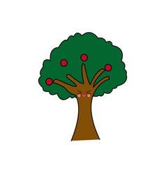 Kawaii tree natural foliage branch fruits cartoon vector
