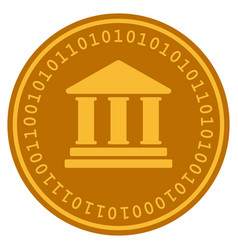 Library building digital coin vector