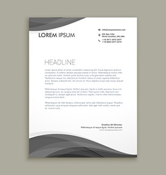 Modern letterhead design with black wave vector