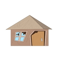 Old destroyed house icon cartoon style vector