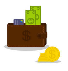paper money and bank card in brown purse and gold vector image