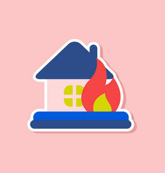 Paper sticker on stylish background of nature fire vector