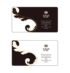 Set of two elegant horizontal business cards in vector
