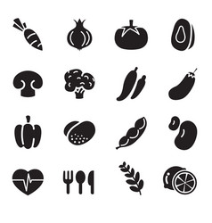 Silhouette vegetable icons vector