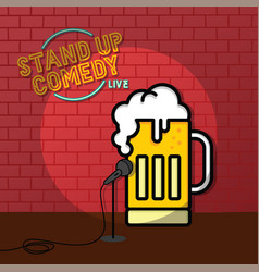 Stand up comedy beer theme vector