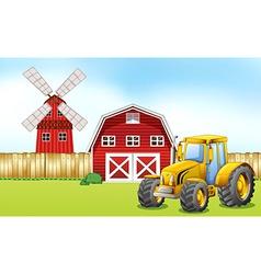 Tractor in the farmyard vector