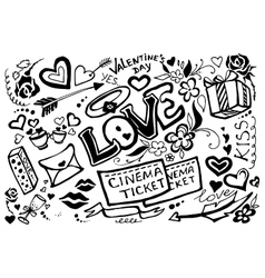 Valentines day doodle set vector image vector image
