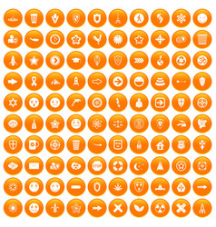 100 emblem icons set orange vector