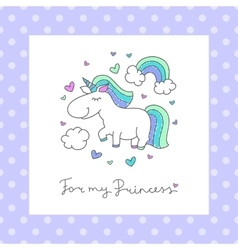 baby greeting card with unicorn vector image