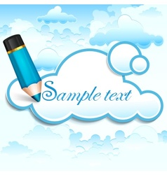 Pencil and cloud speech bubble vector image