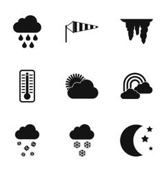 Weather forecast icons set simple style vector