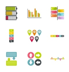 Success statistics icons set flat style vector