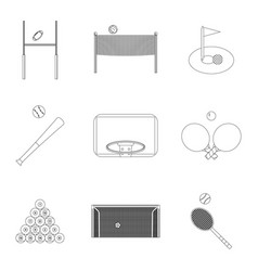 linear sport icons set vector image