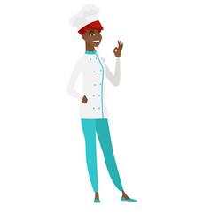 smiling chef cook showing ok sign vector image