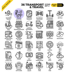 Transport logistic travel outline icons vector