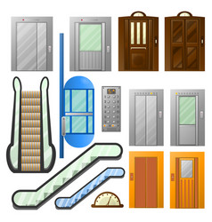 elevators or escalator lifts isolated icons vector image